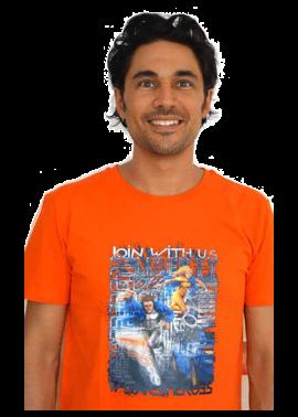 t-shirt homme Join With Us orange - Kaya Team Universe