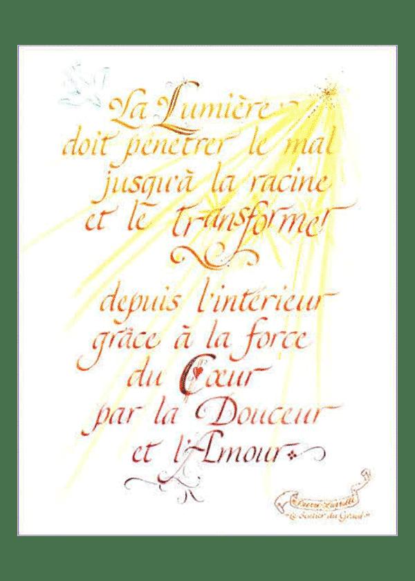 calligraphie La Lumière transformatrice - Jane Sullivan