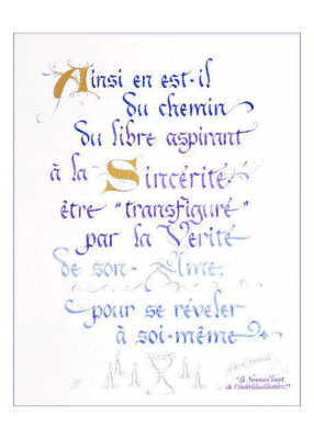 calligraphie La Sincérité libre - Jane Sullivan