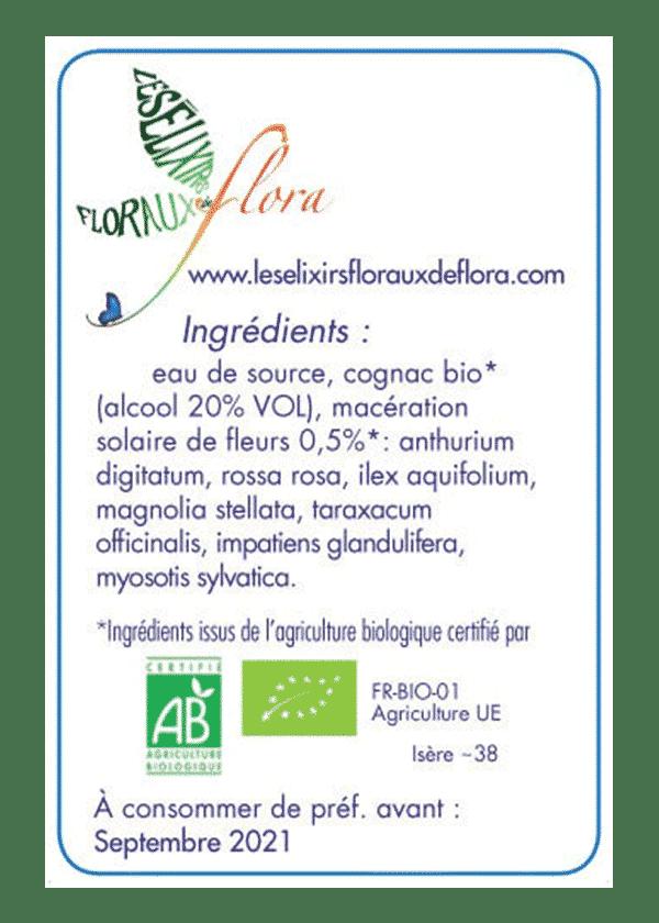 elixir florale Héroïsme Amour Homme ingrédients